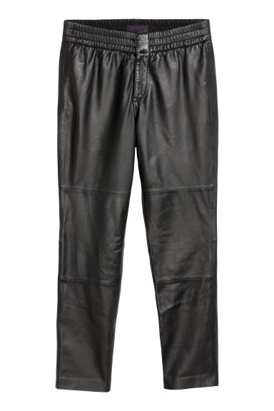 Leather trousers - Black - Men | H&M