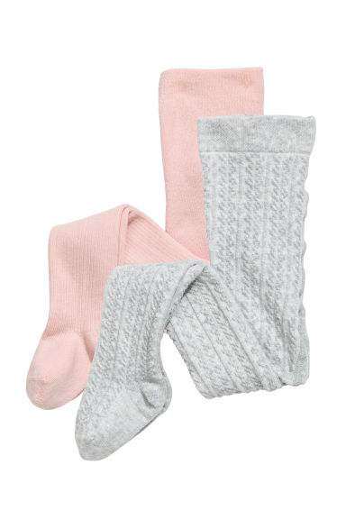 2-pack knitted tights - Pink/Grey marl -  | H&M 1