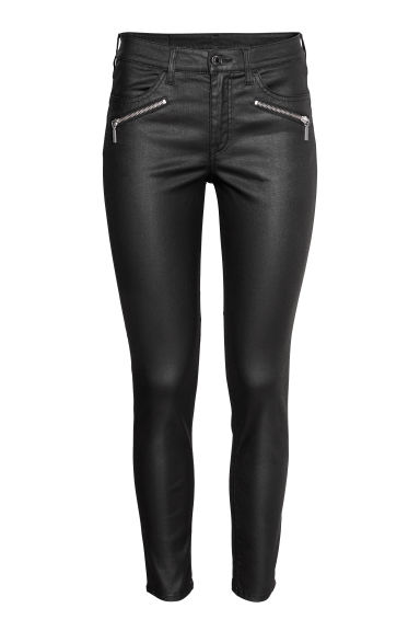 Skinny Regular Ankle Jeans - Black/Coated - Ladies | H&M