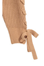 Knitted jumper with lacing - Dark beige - Ladies | H&M CN 2