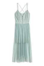 Lace dress with a mesh skirt - Dusky green - Ladies | H&M 2