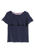 Frilled-trimmed top - Dark blue/Ribbed - Kids | H&M CN 1