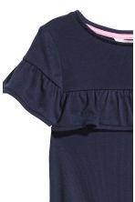 Frilled-trimmed top - Dark blue/Ribbed - Kids | H&M CN 2