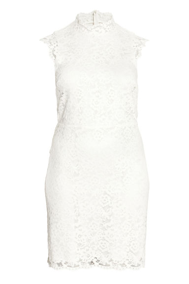 H&M+ Knee-length lace dress - White - Ladies | H&M 1