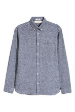 Linen-blend shirt Regular fit - Dark blue marl -  | H&M 2