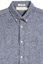 Linen-blend shirt Regular fit - Dark blue marl -  | H&M 4