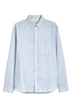 Linen-blend shirt Regular fit - Light blue marl - Men | H&M CN 2