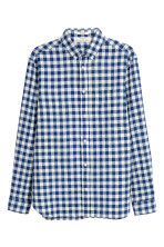 Dark blue/White checked