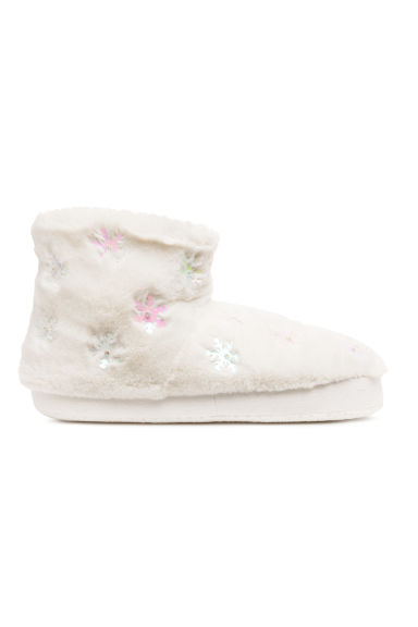 Pile-lined slippers - White/Snowflakes - Ladies | H&M CN