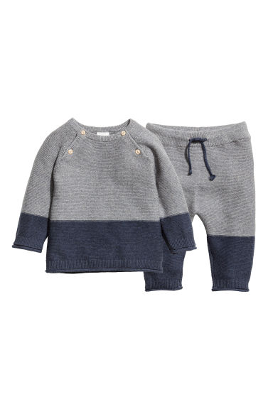 Knitted jumper and trousers - Dark blue/Grey - Kids | H&M CN 1