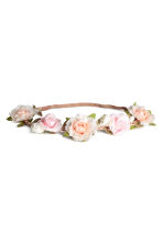 Hairband with flowers - Light pink - Ladies | H&M CN 1