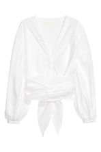 Tie-detail cotton blouse - White - Ladies | H&M 2