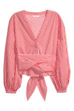 Tie-detail cotton blouse - Red/White striped - Ladies | H&M 2