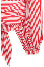 Tie-detail cotton blouse - Red/White striped - Ladies | H&M 3