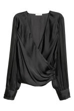 Wrapover satin blouse - Black - Ladies | H&M CN 2