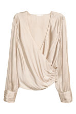 Wrapover satin blouse - Champagne - Ladies | H&M 2