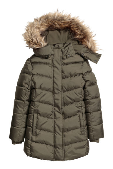 Padded jacket with a hood - Dark khaki green -  | H&M CN 1