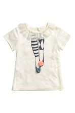 Short-sleeved jersey top - Natural white/Frill - Kids | H&M CN 2