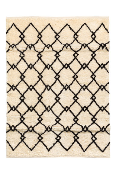 Wool-blend rug - White/Grey patterned - Home All | H&M CN 1