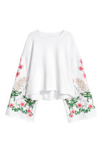 Embroidered sweatshirt - White/Floral - Ladies | H&M CN 2