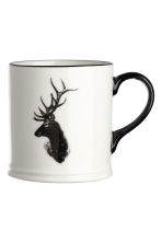 Porcelain mug with a motif - White/Deer - Home All | H&M IE 2