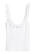 Frill-trimmed top - White -  | H&M CN 2