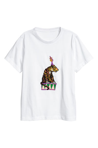 Pima cotton T-shirt - White/Tiger - Ladies | H&M CN 1
