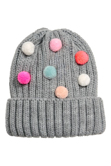 Hat with pompoms - Grey -  | H&M CN 1