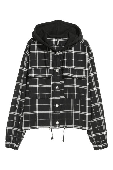 Hooded flannel shirt - Black/White checked -  | H&M GB