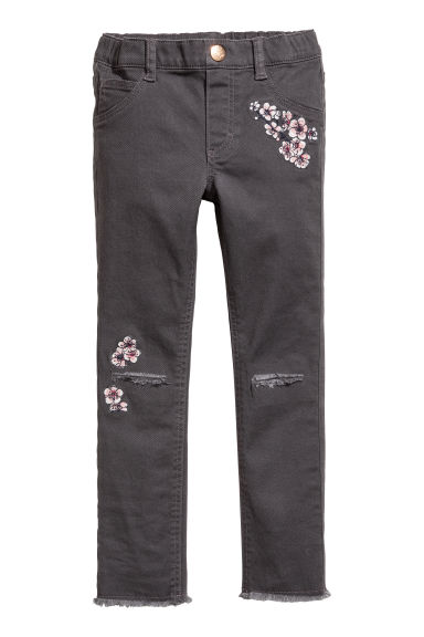 Treggings with embroidery - Dark grey/Flowers -  | H&M CN