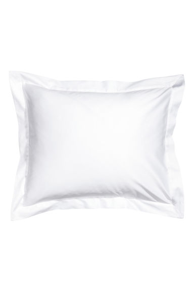 Cotton satin Oxford pillowcase - White - Home All | H&M GB