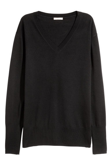Merino wool jumper - Black - Ladies | H&M