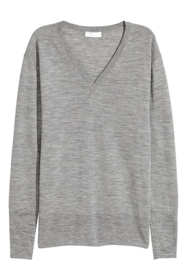 Merino wool jumper - Grey - Ladies | H&M GB