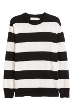 Slub-knit Cotton Sweater - Black/white striped -  | H&M CA 2