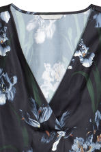 Satin blouse - Black/Floral - Ladies | H&M CN 3