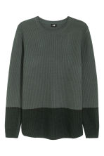Textured wool-blend jumper - Green - Men | H&M 2