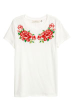T-shirt met applicaties - Wit - DAMES | H&M BE 2