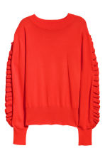 Frilled knitted jumper - Bright red - Ladies | H&M CN 2
