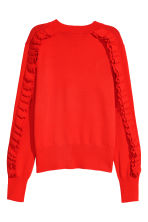 Frilled knitted jumper - Bright red - Ladies | H&M CN 3