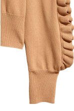 Frilled knitted jumper - Beige - Ladies | H&M 4