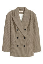 Double-breasted jacket - Beige/Dogtooth - Ladies | H&M GB 2