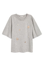 Top with appliqués - Grey marl - Ladies | H&M CN 2