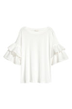 Jersey flounce-sleeved top - White - Ladies | H&M CN 2