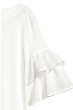 Jersey flounce-sleeved top - White - Ladies | H&M CN 3