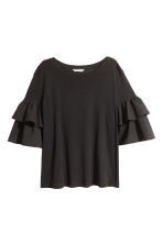 Jersey flounce-sleeved top - Black -  | H&M 2