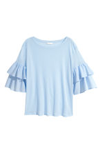 Jersey flounce-sleeved top - Light blue - Ladies | H&M 2