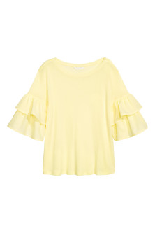 Jersey flounce-sleeved top