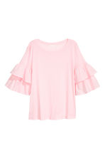 Jersey flounce-sleeved top - Light pink - Ladies | H&M 2