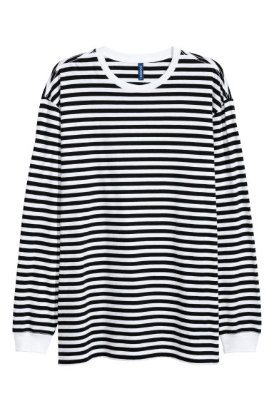 Oversized jersey top - White/Black striped - Men | H&M 1