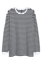 Oversized tricot top - Wit/zwart gestreept - HEREN | H&M BE 1